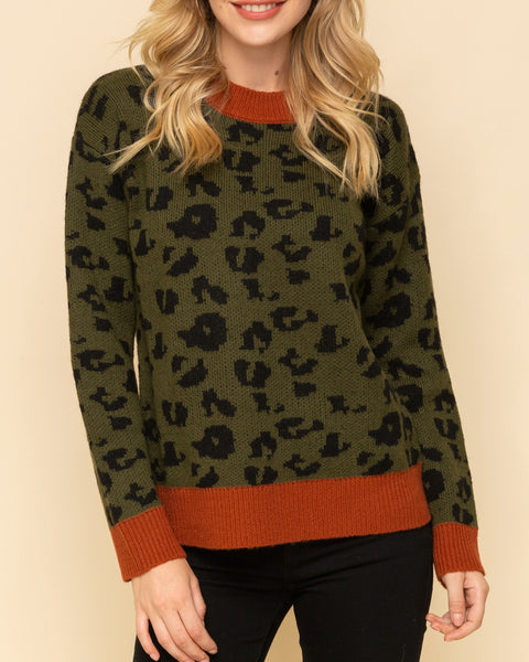 Hem & Thread Olive Green Animal Leopard Print Rust Orange Contrast Knit Pullover Sweater Savvy Chic Boutique Cleveland Ohio