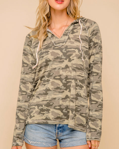 Olive Green Camouflage Print Lightweight Pullover Hoodie Savvy Chic Boutique Cleveland Ohio