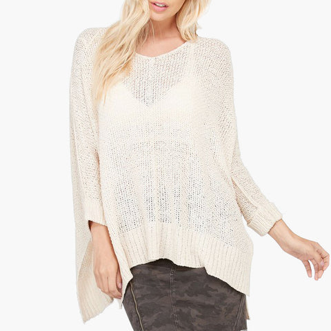 Wishlist Cream Ivory Sweater Sheer Open Weave Knit Cuffed Sleeve Savvy Chic Boutique Cleveland Ohio