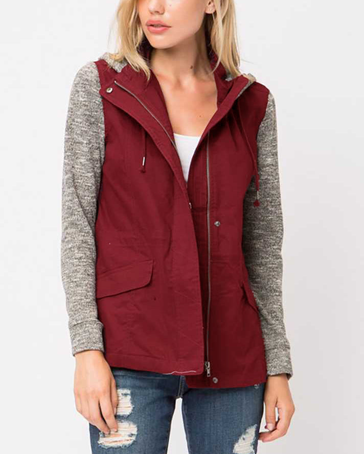 Love Tree Wine Red Heather Grey Zip Up Hooded Jacket Savvy Chic Boutique Cleveland Ohio