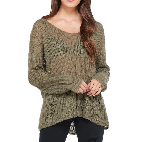 Wishlist Olive Green Lightweight Pullover Distressed Sweater Savvy Chic Boutique Cleveland Ohio