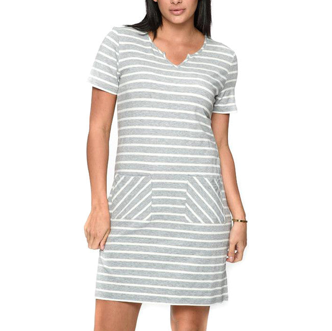 Grey White Stripe Short Sleeve Dress