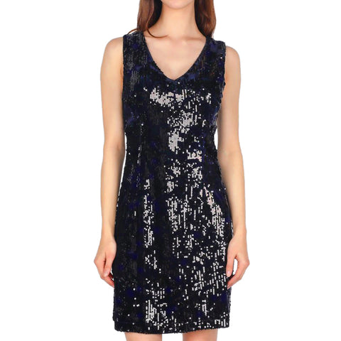 Skies Are Blue Navy Velvet Black Sequin Sleeveless Body Con Dress Savvy Chic Boutique Cleveland Ohio