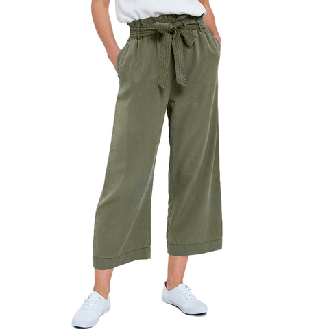 Wishlist Olive Green Tencel Wide Leg Cropped Paper Bag Tie Belt Pants Savvy Chic Boutique Cleveland Ohio