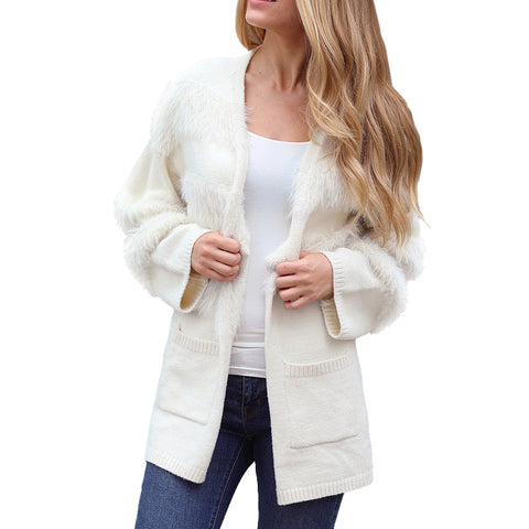 Zaria Ivory Cream Knit Faux Fur Cardigan Sweater Savvy Chic Boutique Cleveland Ohio