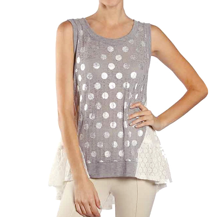 A'Reve Grey Lightweight Knit Silver Polka Dot Print White Lace Tank Top Savvy Chic Boutique Cleveland Ohio