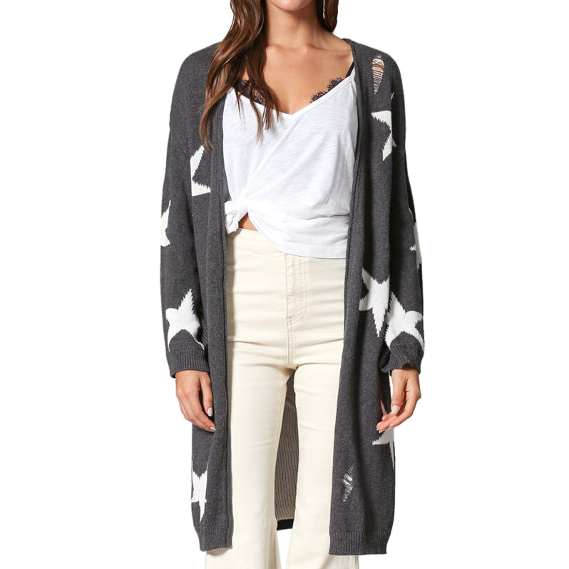 f7d2f63284ee13 By Together Grey White Star Print Distressed Knit Sweater Cardigan Savvy  Chic Boutique Cleveland Ohio