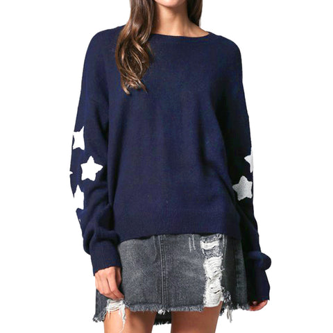 By Together Navy Blue Knit White Star Sweater Savvy Chic Boutique Cleveland Ohio
