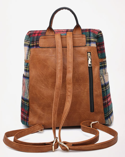Jen & Co Red Green Tan Brown Faux-Leather Buffalo Plaid Backpack Bag Savvy Chic Boutique Cleveland Ohio