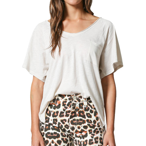 By Together White Slouchy Oversized Slub Knit V Neck Tee T Shirt Savvy Chic Boutique Cleveland Ohio
