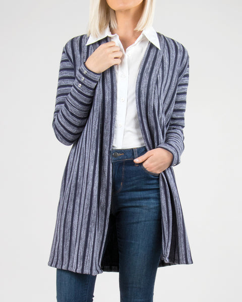 Simply Noelle Navy Stripe Button Long Open Cardigan Sweater Savvy Chic Boutique Cleveland Ohio