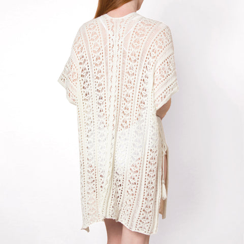 Simply Noelle Pearl Ivory Crochet Knit Shawl Swimsuit Pool Beach Cover Up Savvy Chic Boutique Cleveland Ohio