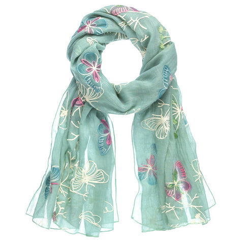 Embroidered Butterfly Scarf - Mint