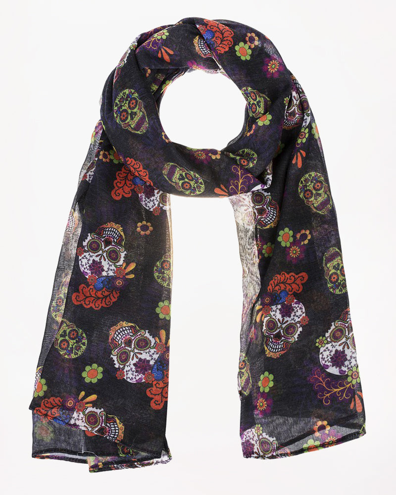 Day of the Dead Black Skull Floral Print Scarf Savvy Chic Boutique Cleveland Ohio