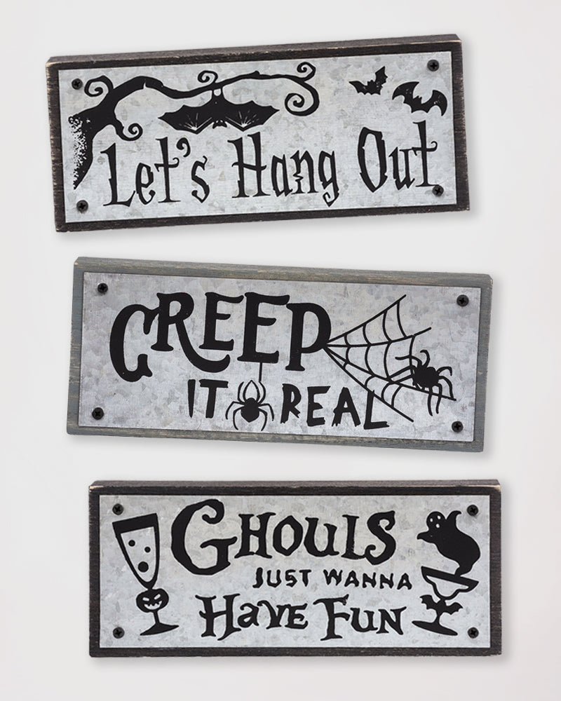 Halloween Decoration Metal Wooden Shelf Sitter Plaque Sign Savvy Chic Boutique Cleveland Ohio