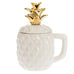 White Gold Ceramic Pineapple Mug Lid Gift Savvy Chic Boutique Cleveland Ohio