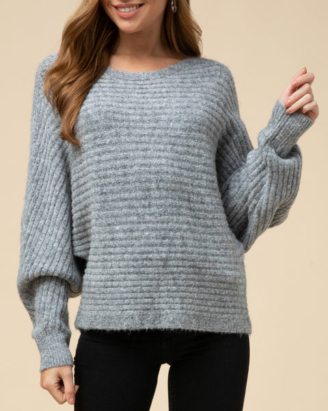 Grey Ribbed Soft Knit Dolman Sleeve Pullover Sweater Savvy Chic Boutique Cleveland Ohio
