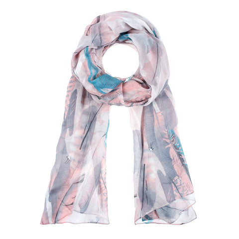 Pink Blue Grey Feather Print Scarf