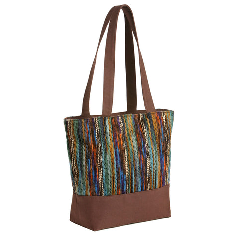 Canvas Knit Brown Fall Tote Handbag