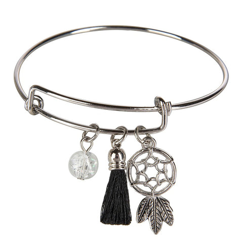 Silver Bangle Bracelet Charms Dream Catcher Star Arrow Key Jewelry Savvy Chic Boutique