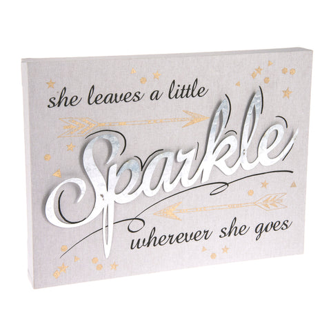 Grey Gold Sparkle Inspirational Plaque Sign Decoration