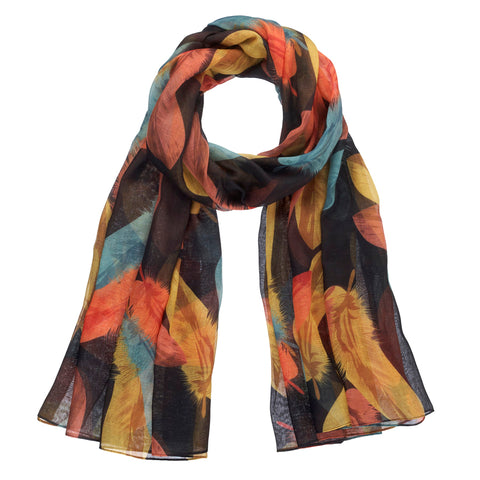 Colorful Feather Print Fall Scarf
