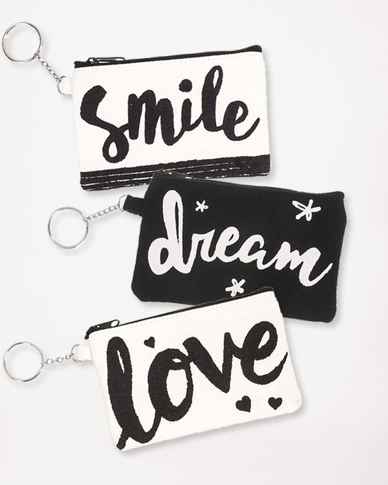 Black White Cotton Canvas Coin Purse Keychain Wallet Smile Love Dream Pouch Gift Savvy Chic Boutique Cleveland Ohio