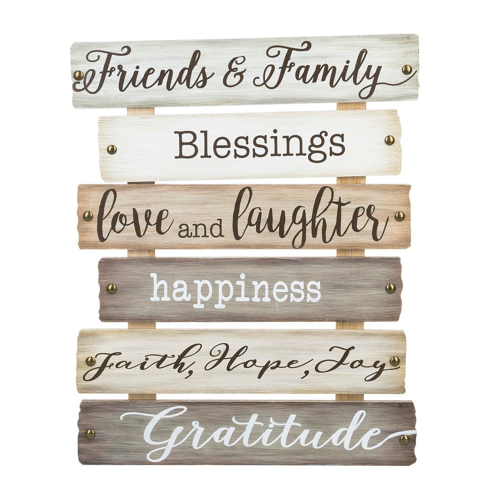 Friends Family Gratitude Love Laughter Blessings Faith Wooden Sign Plaque Home Decor Savvy Chic Boutique Cleveland Ohio