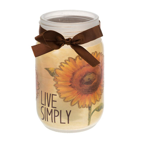 Sunflower Autumn Fall Glass Mason Jar Light Up Decor Gift Savvy Chic Boutique Cleveland Ohio