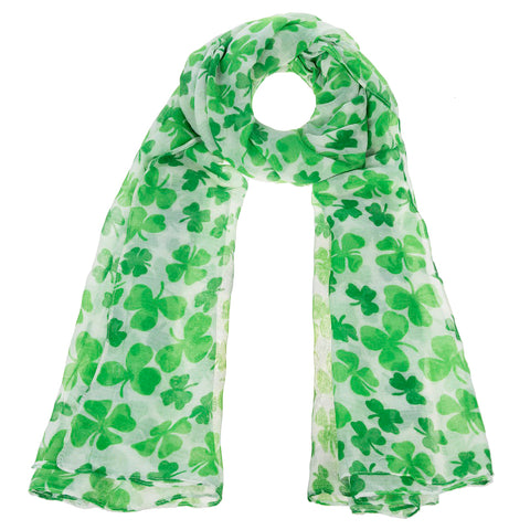 St. Patrick's Day Green Irish Shamrock Clover Print Scarf Accessory Savvy Chic Boutique Cleveland Ohio