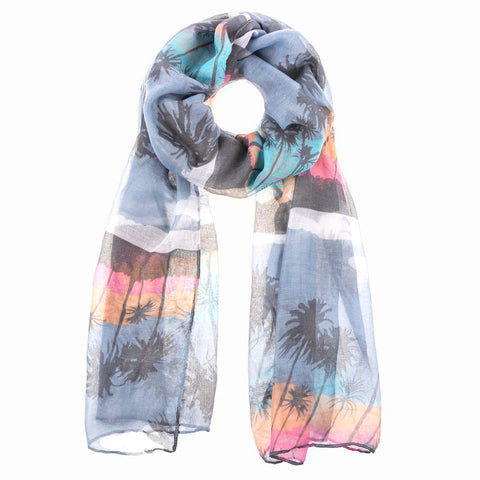 Sunset Palm Tree Summer Beach Island Print Scarf Savvy Chic Boutique Cleveland Ohio