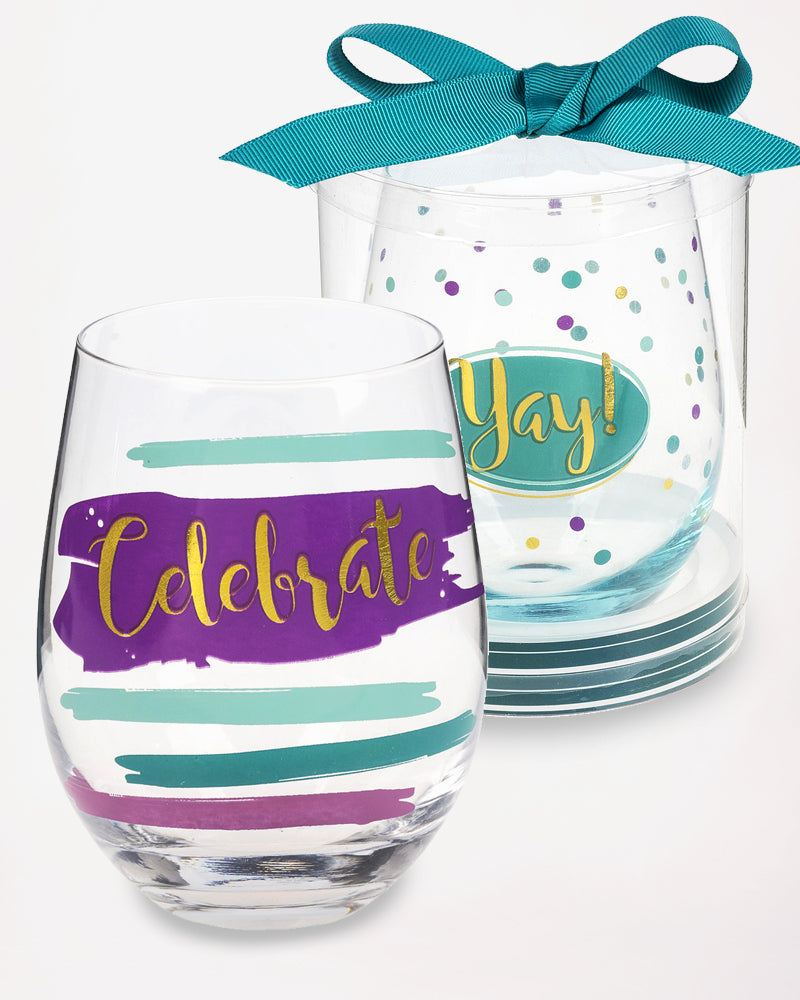 Celebrate Stemless Wine Glass Colorful Graphic  Party Hostess Gift
