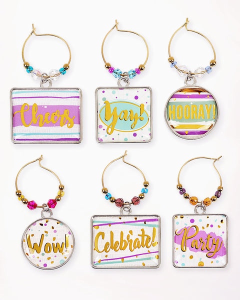 Wine Glass Charm Colorful Gold Beaded Party Celebration Hostess Gift