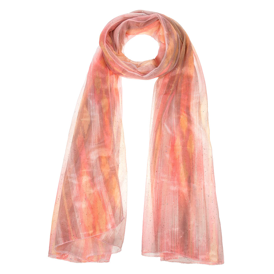 Orange Pink Glitter Sparkle Scarf Accessory Savvy Chic Boutique Cleveland Ohio