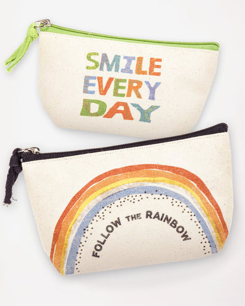 Cotton Canvas Happy Colorful Rainbow Smile Zipper Pouch Cosmetic Bag Gift Savvy Chic Boutique Cleveland Ohio