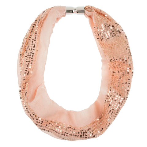 Peach Sequin Magnetic Scarf Necklace Accessory