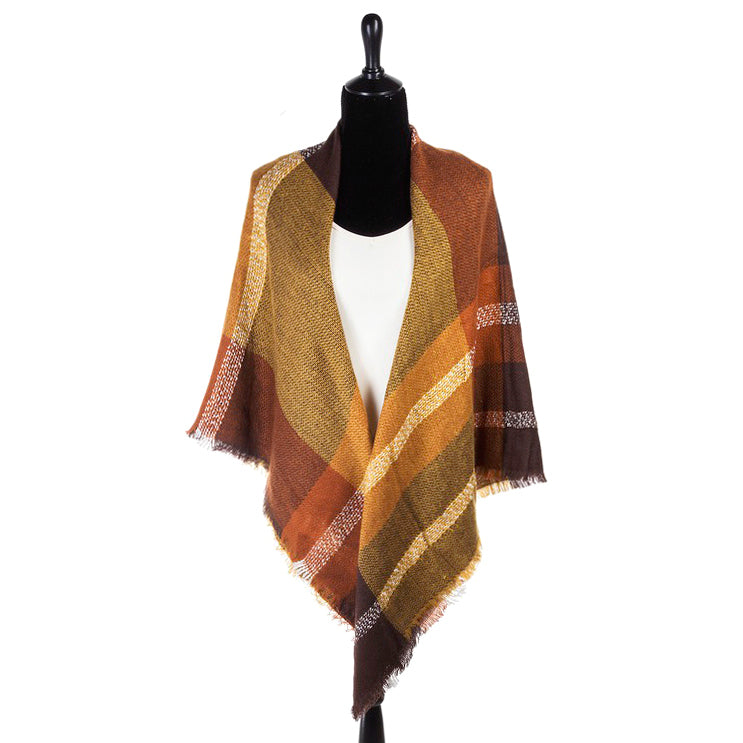 Orange Brown Mustard Gold Plaid Knit Fringe Shawl Savvy Chic Boutique Cleveland Ohio