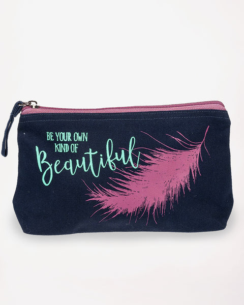 Feather Inspirational Graphic Cosmetic Bag Pouch Case Zipper Cotton Canvas Purple Turquoise Gift Savvy Chic Boutique Cleveland Ohio