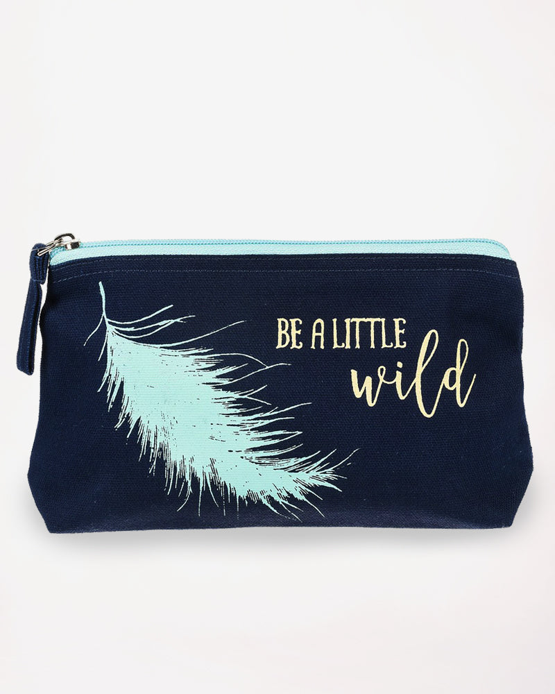 Feather Inspirational Graphic Cosmetic Bag Pouch Case Zipper Cotton Canvas Black Turquoise Gift Savvy Chic Boutique Cleveland Ohio
