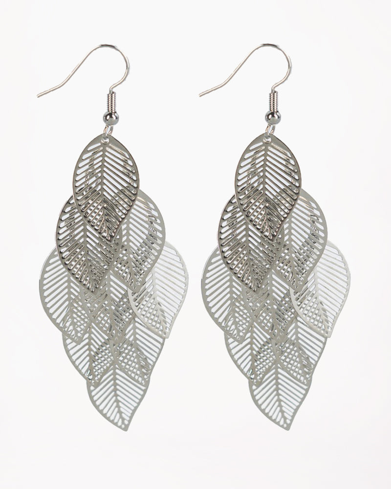 Silver Cluster Leaf Earrings
