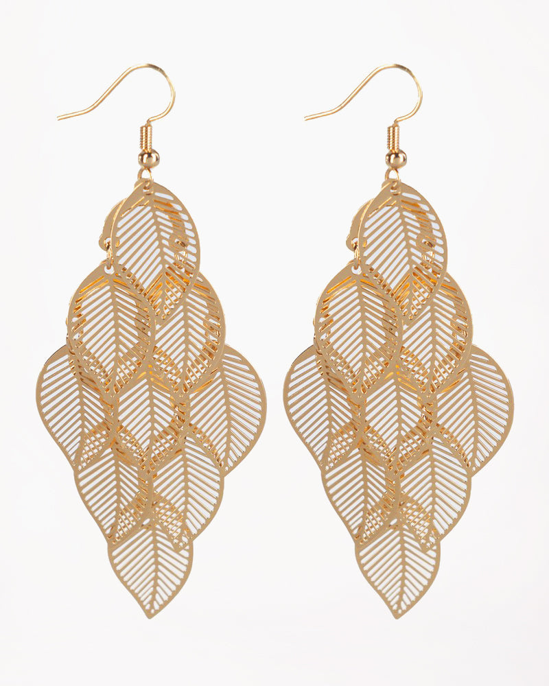 Gold Cluster Leaf Earrings