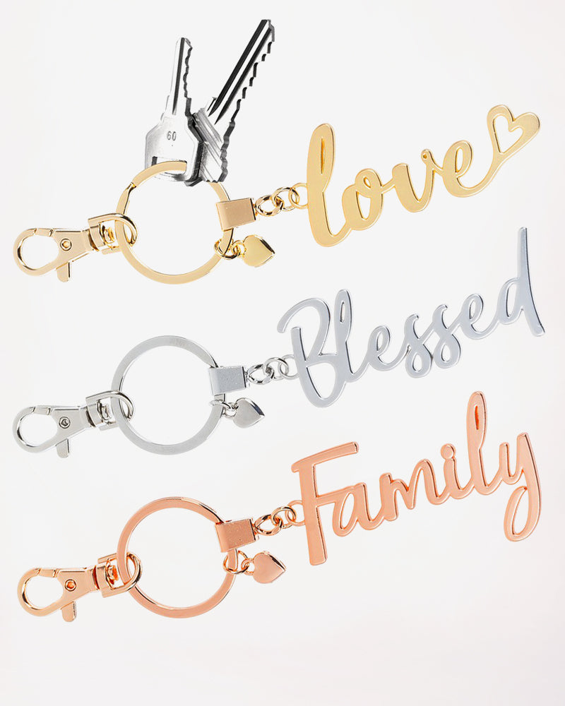 Gold Silver Rose Gold Metal Keyring Keychain Love Family Blessed Gift Savvy Chic Boutique Cleveland Ohio
