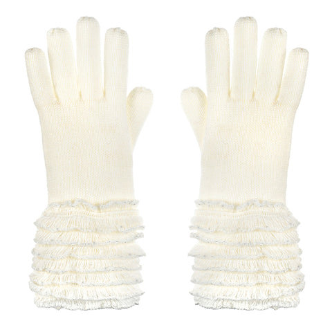 Ivory Knit Sparkle Silver Lurex Winter Gloves