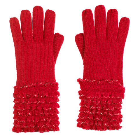 Red Knit Ruffle Sparkle Silver Lurex Winter Gloves