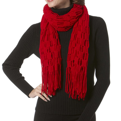 Checkered Knit Fringed Scarf Red Black Cream