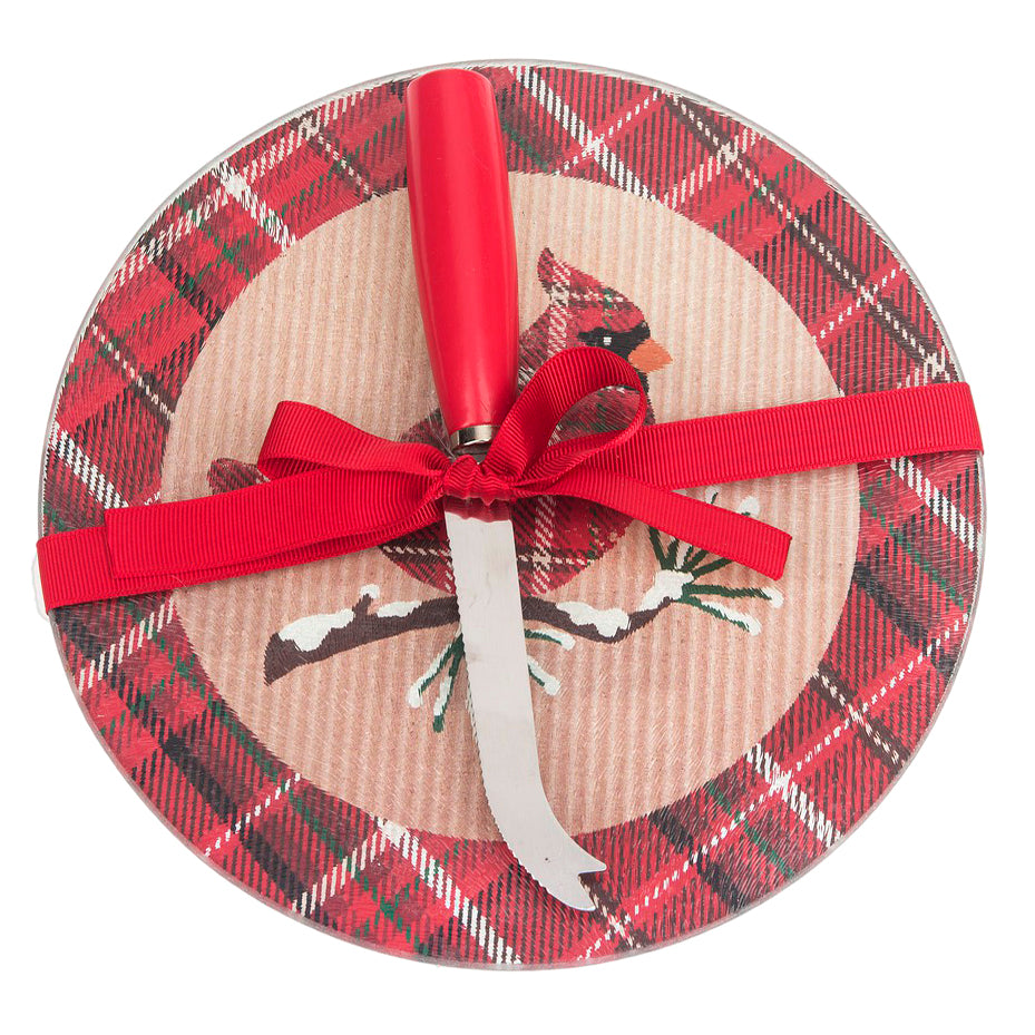 Holiday Christmas Red Glass Plaid Cardinal Cheeseboard Knife Gift Set Savvy Chic Boutique Cleveland Ohio