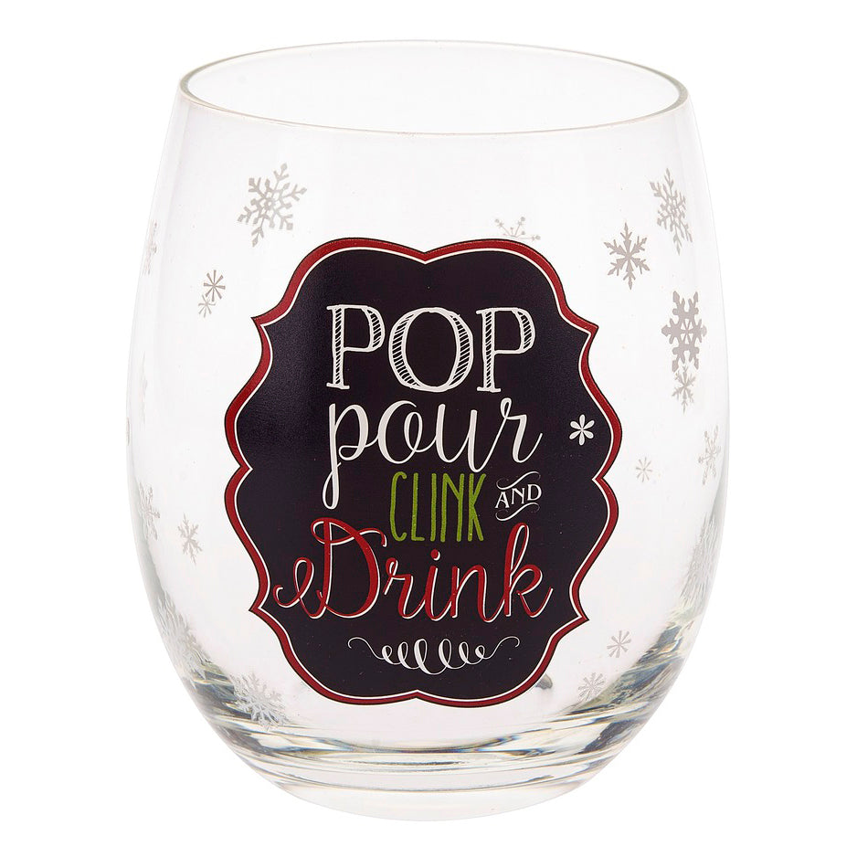 Holiday Stemless Wine Glass - 2 Styles!