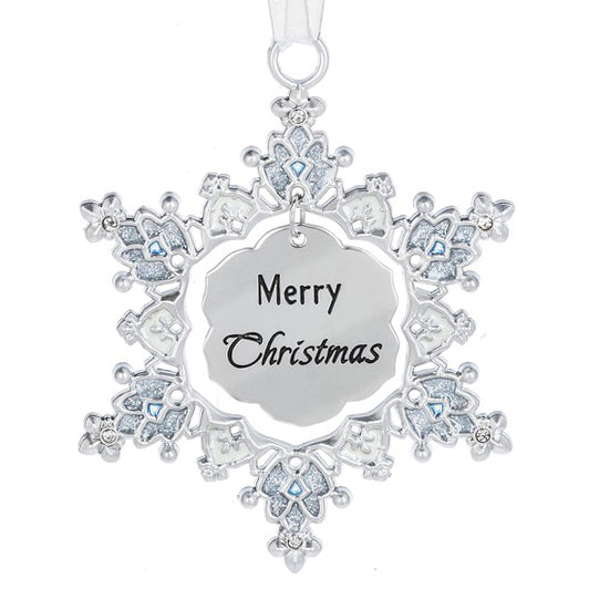 Sparkle Snowflake Ornament - Merry Christmas