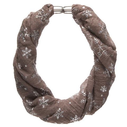 Taupe Metallic Snowflake Magnetic Necklace Scarf