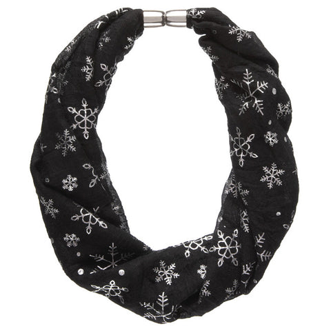 Black Metallic Snowflake Magnetic Scarf Necklace